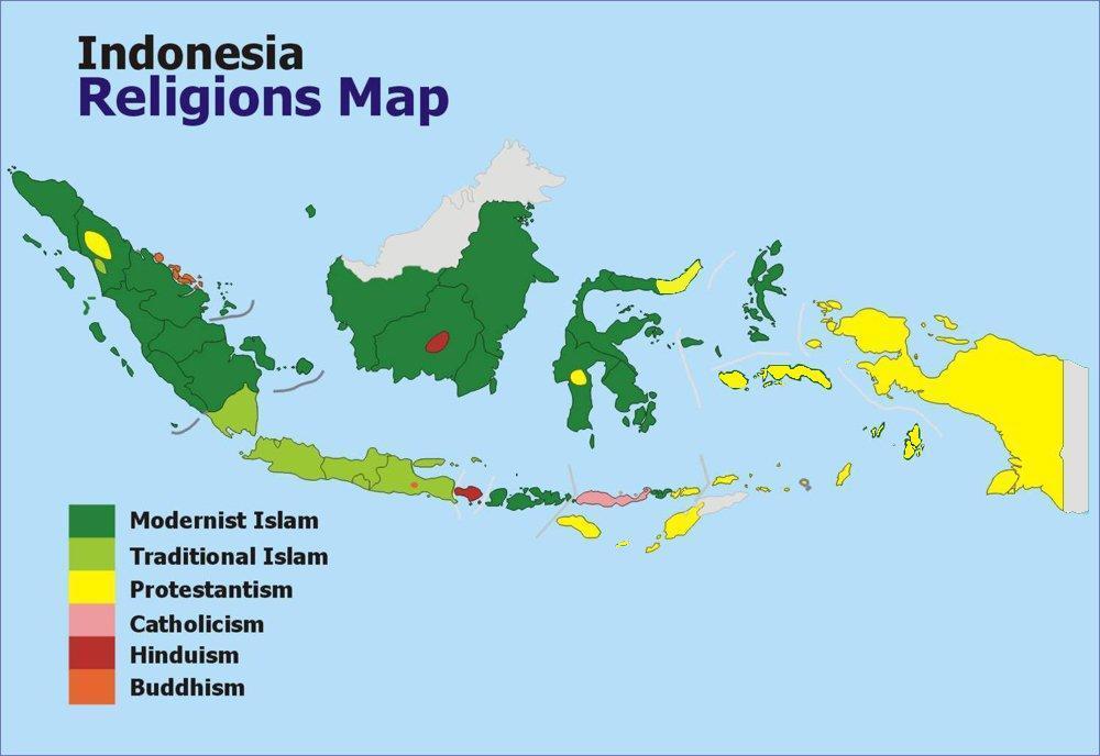 Carte des réligions d Indonésie